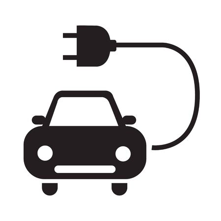 Electric car icon silhouette black isolated on white background eps 10 向量圖像