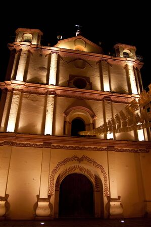 San Cristobal, Mexico. Church at night photo