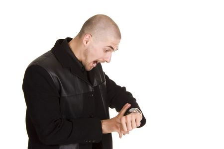 no time: Businessman looking at his watch