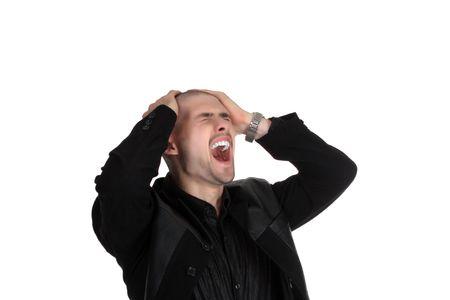 seized: businessman in black suit seized his head Stock Photo