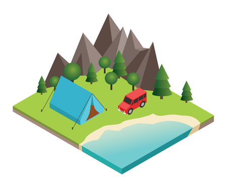 rural road: Flat 3d vector isometric illustration. Vacation and holiday concept.