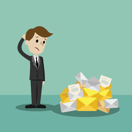 Businessman or manager finding himself going to be busy. A lot of emails. Illustration