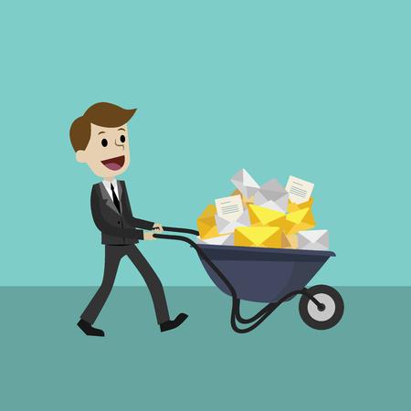 Homme d'affaires ou gestionnaire reçoit de nombreux courriels. Jour ouvrable, affaires. Banque d'images - 75410080