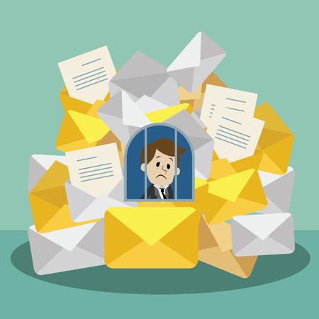 Hombre de negocios o gerente que se encuentra ocupado. Preason del correo electrónico y documentos. El gerente tiene mucho trabajo.