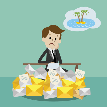 overload: Businessman or manager working and dreaming about vacation on a beach. Office worker in stress dreaming to go to tropical island. A lot of emails.