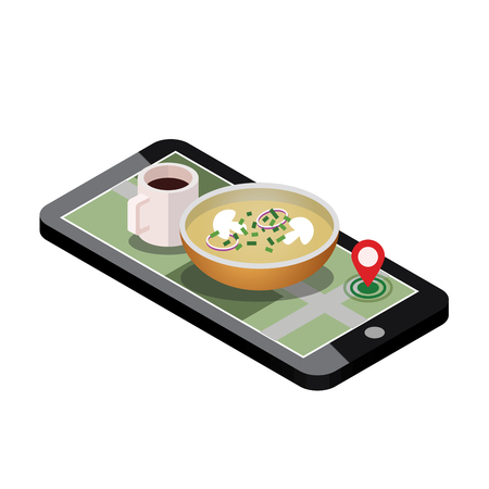 Isometric food delivering. Searching of dinner. Mobile searching. Coffee and soup. Geo tracking. Map.