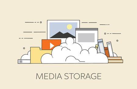 storage device: Computer device data cloud storage security flat design vector illustration.