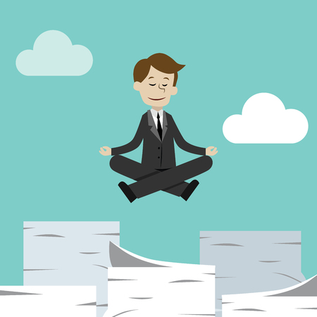 Businessman or manager has a lot of jobs but keep calm doing yoga in lotus pose. Job is finished successfull.