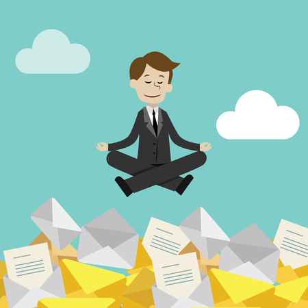 Businessman or manager has a lot of emails but keep calm doing yoga in lotus pose. Job is finished successfull.