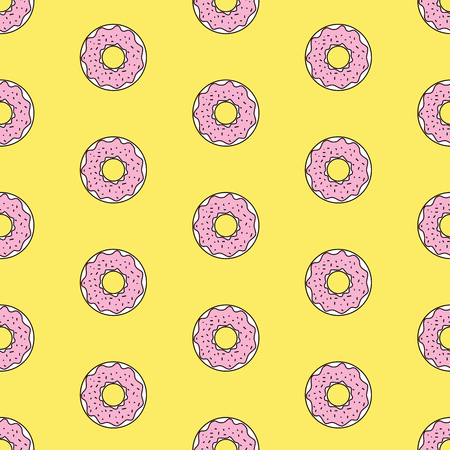Seamless pattern background with colorful donuts, vector illustration
