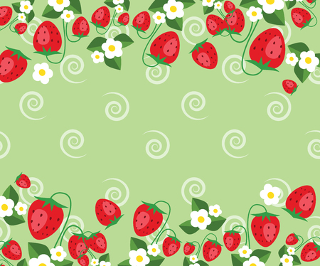 Frame template with strawberries, leafs and flowers. Vector background  イラスト・ベクター素材