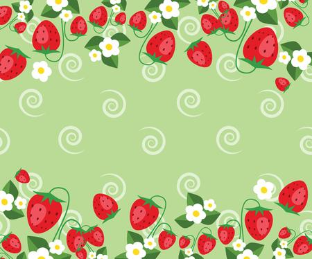 Modèle de cadre avec des fraises, des feuilles et des fleurs. Fond de vecteur Vecteurs