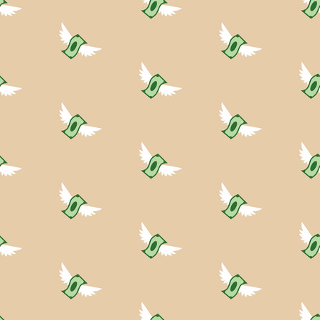 Seamless vector pattern of flying paper money