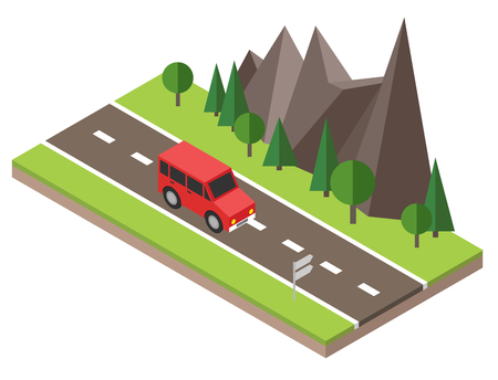 Isometric countryside. Summer road. Car goes through rocks and trees.