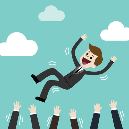 Successful businessman being throwing up by his team. Feeling and emotion about success and team work. Illustration