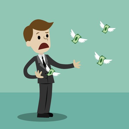 Businessman losing his money. Money fly away like birds. Vector illustration