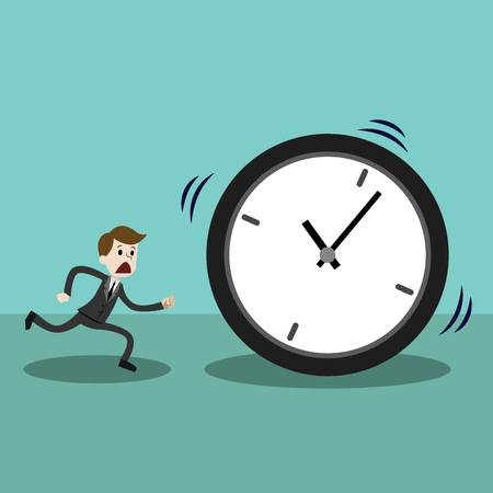 Businessman late and running with clock or time. Losing time Illustration