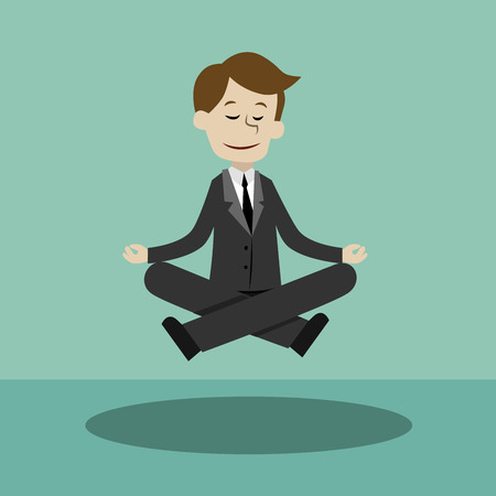 Businessman doing yoga in lotus pose. Making ideas. Keep calm