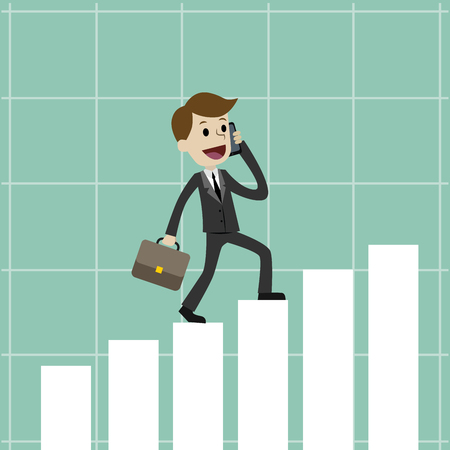 Businessman going up on the growing chart , Business concept - vector illustration