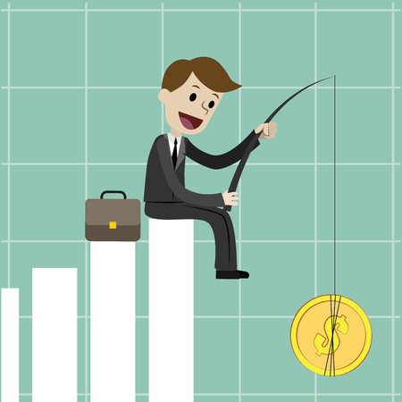 uptrend: Businessman sitting on the growing chart , Business concept - vector illustration
