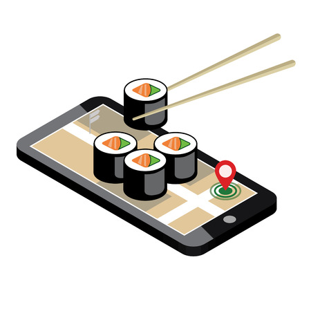 Isometric city. Food delivering. Sushi. Mobile searching. Geo tracking. Map.Isometric city. Food delivering. Ilustração