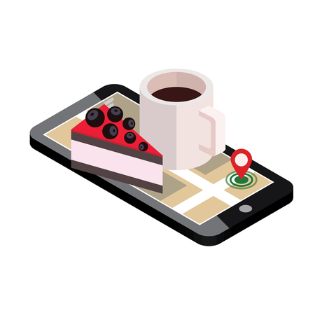 Isometric city. Food delivering. Mobile searching. Coffee and cake. Geo tracking. Map.Isometric city. Food delivering.