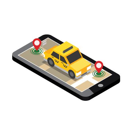 Isometrische locatie. Mobiel geo-tracking. Kaart. Taxi. Stock Illustratie