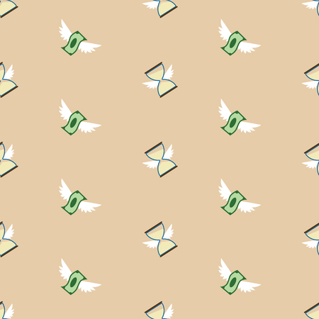 Seamless vector pattern of flying paper money and hourglass Çizim