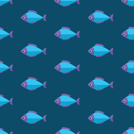 blue fish: Vector seamless fish pattern. Ocean or aquarium background