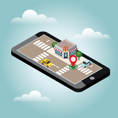 Isometric city. Pizzeria. Food delivering. Mobile searching. Geo tracking. Map