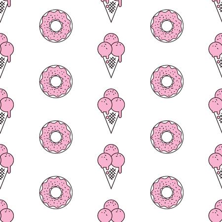 ポップなアート スタイルでアイスクリームのカラフルなシームレス パターン。アイスクリームの背景