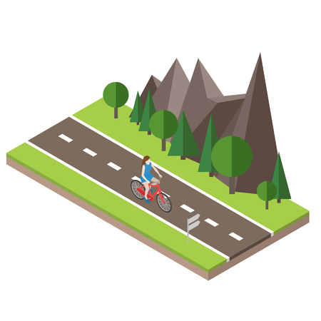 Isometric countryside. Summer road. Woman cycling on countryside summer sunny road or highway Illustration