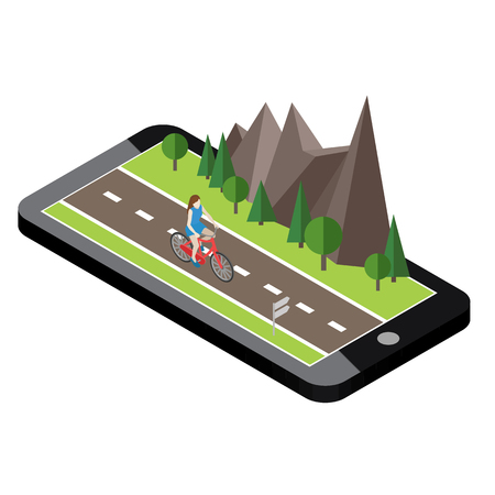 Isometric countryside. Summer road. Mobile geo tracking. Map. Woman cycling on countryside summer sunny road or highway