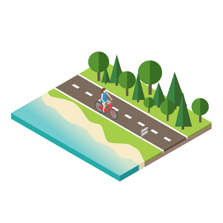 Woman cycling on countryside summer sunny road or highway