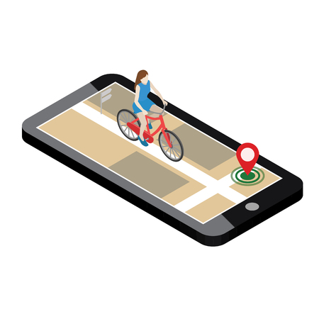 Isometric location. Mobile geo tracking. Female cyclist riding on a bicycle. Map