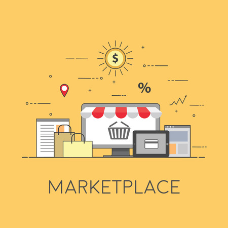 Flat design banner of E-Commerce and E-Shopping for website and mobile website. Marketplace. Easy to use and highly customizable Ilustração