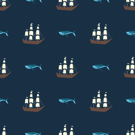 Vector seamless ship and whale pattern. Ocean or sea background