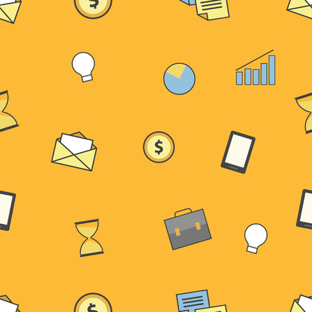 Set of business and finance icons. Seamless pattern Illustration