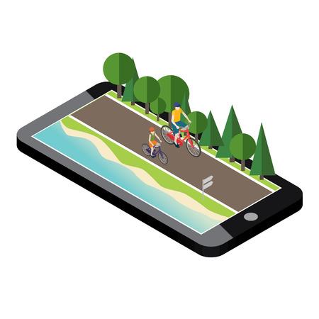 Frau und Mann auf Fahrrädern auf der Straße nahe dem Strand und dem Wald. Mobiles Geo-Tracking Standard-Bild - 77772201