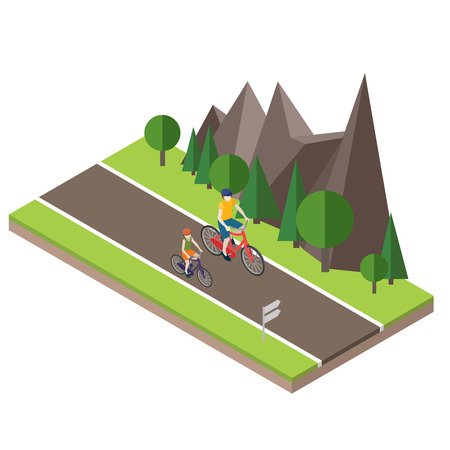 Isometric countryside. Summer road. Woman and man cycling on countryside summer sunny road or highway Illustration
