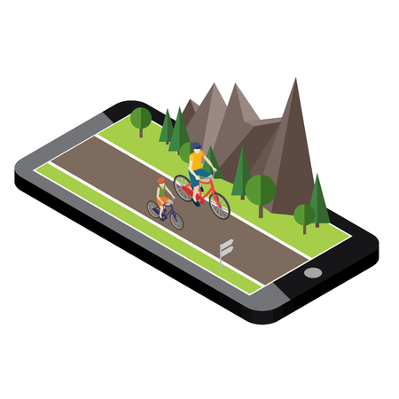Isometric countryside. Summer road. Mobile geo tracking. Map. Woman and man cycling on countryside summer sunny road or highway
