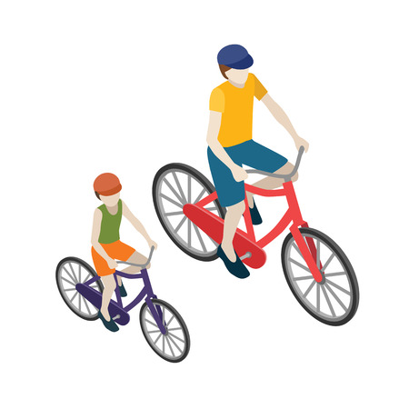 Female and male cyclists riding on a bicycle. Flat 3d isometric vector illustration