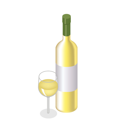 Isometric red, wine bottle with glass on white background