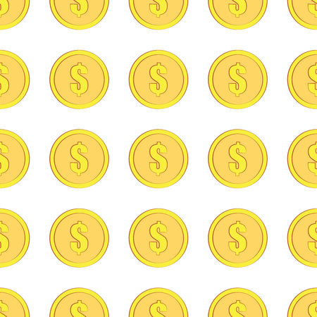 Golden coins with dollar sign seamless pattern. Money icons on white