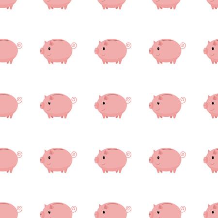 Pink piggy bank seamless pattern. Piggy bank on white background