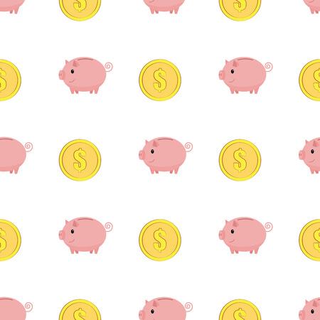 Golden coins with dollar sign seamless pattern. Pink piggy bank seamless pattern