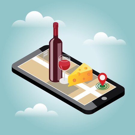 Isometrische levering van levensmiddelen. Op zoek naar bar of diner. Mobiel zoeken. Bar of wijnwinkel. Geo-tracking. Kaart