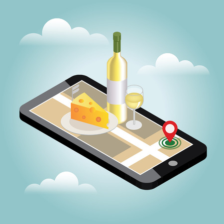 BARWARE: Isometric food delivering. Looking for bar or dinner. Mobile searching. Bar or wine shop. Geo tracking. Map