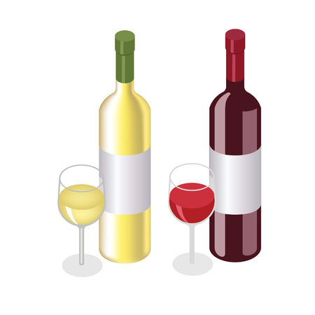 Isometric red and white wine bottles with glasses on white background