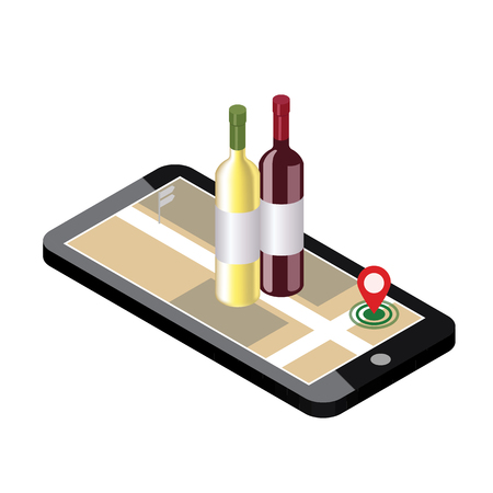 Isometric food delivering. Looking for bar or dinner. Mobile searching. Bar or wine shop. Geo tracking. Map